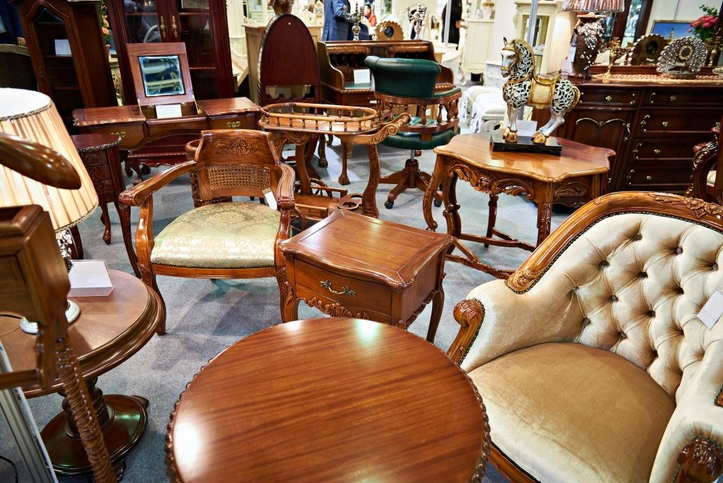 Wooden furnitures at the shop