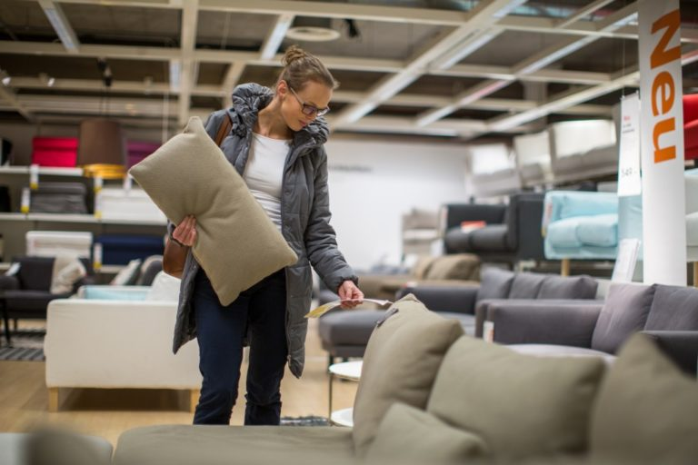 Woman shopping for a furniture