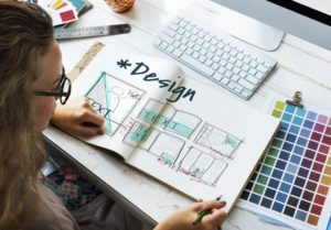 woman doing a layout design