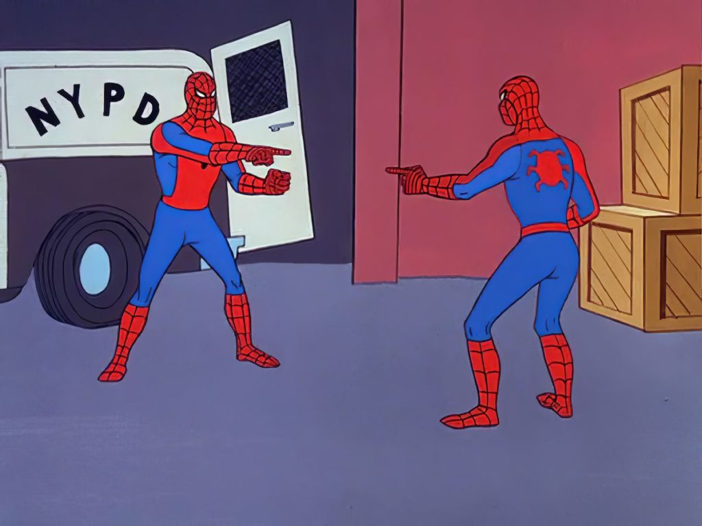Original Spider-Man Pointing at Spider-Man Template restored in HD 4k - (aka spiderman confusion meme) - [4096_3072] _ Spider-Man Pointing at Spider-Man