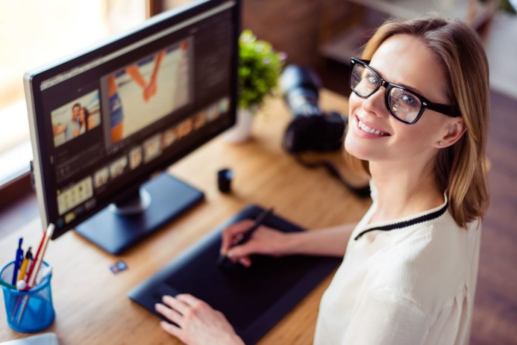 woman working graphic design